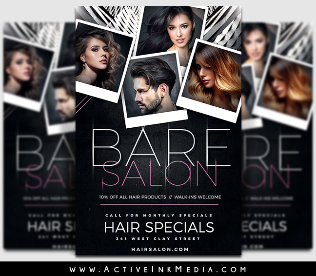 hair salon flyer template for photoshop illustrator