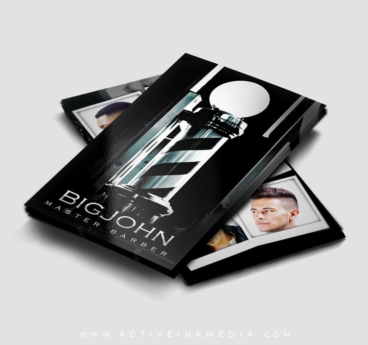 dark black barber pole business card