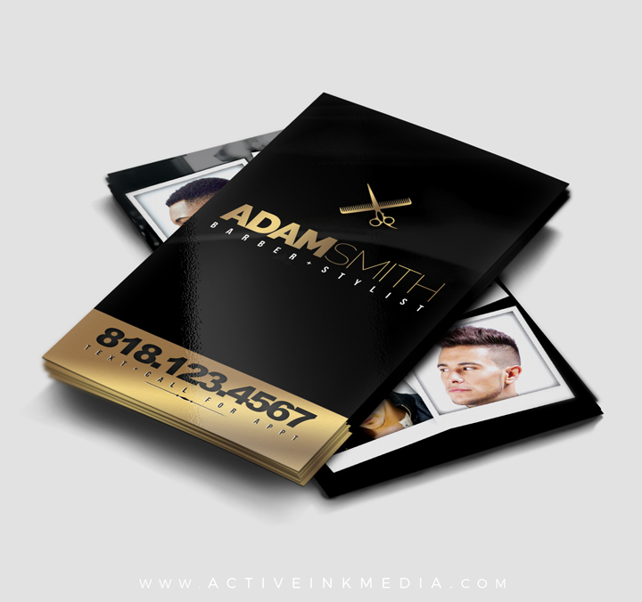 Gold Homebarber Stylist Designs And Black Barber Business Card Template
