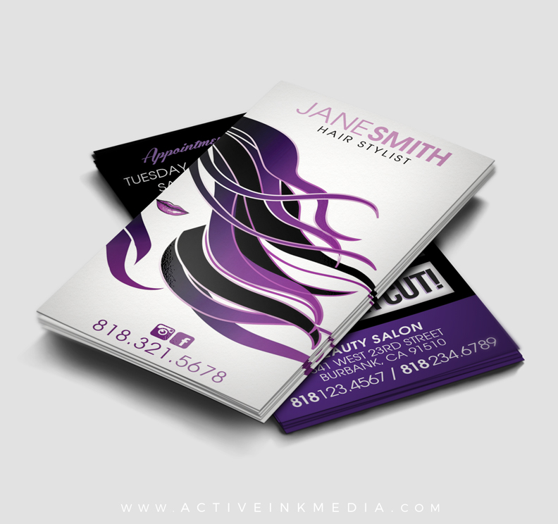 Purple hair stylist business card template active ink media purple hair stylist wajeb Choice Image