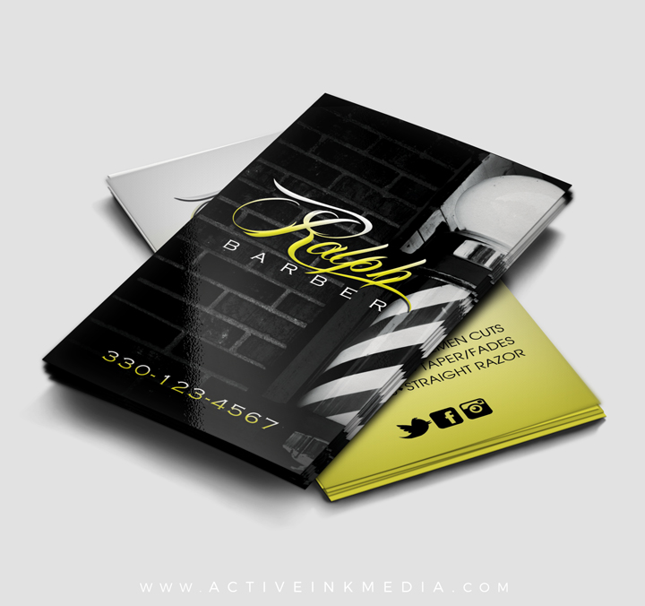 Black and yellow barber business card template active ink media yellow yellow homefeatured designs black and yellow barber business card template cheaphphosting Images