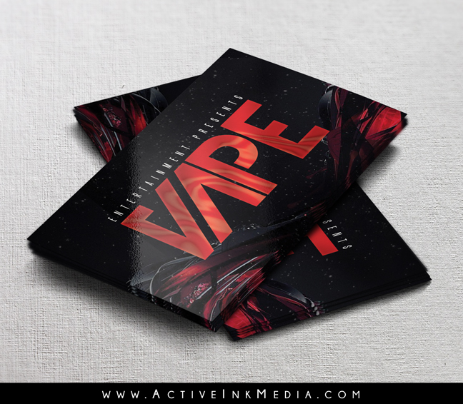 red and black vape business card template
