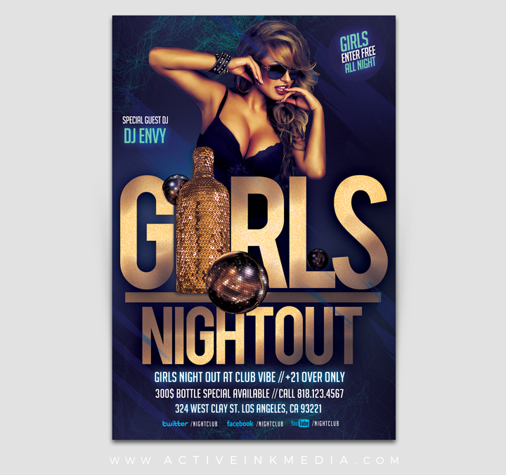 Girls Night Out Club Flyer Template  Active Ink Media