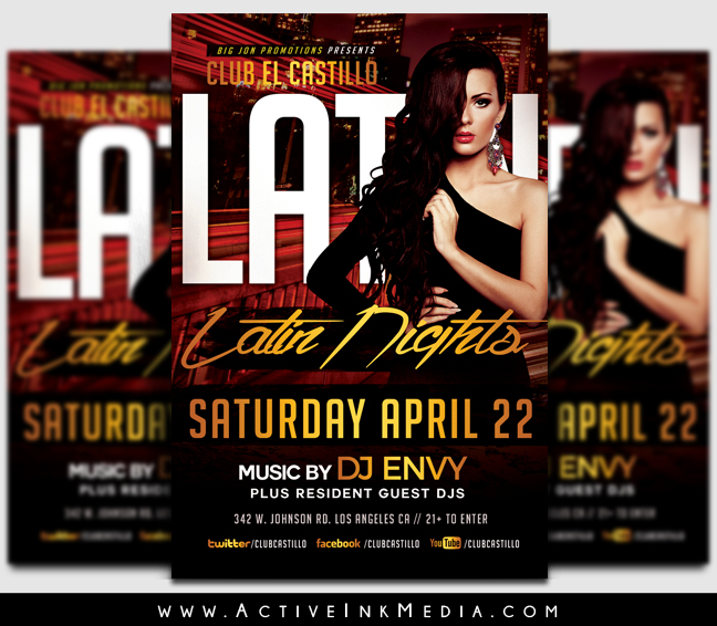 Latin Night Club Flyer Template  Active Ink Media