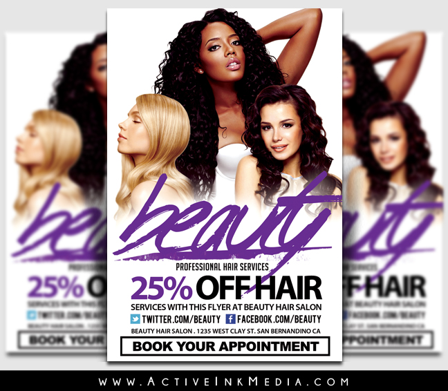 Hair Salon Beauty Stylist Flyer Template Active Ink Media