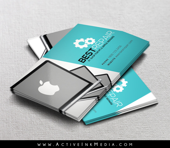 Pc apple repair shop business card template active ink media repair business card reheart Images