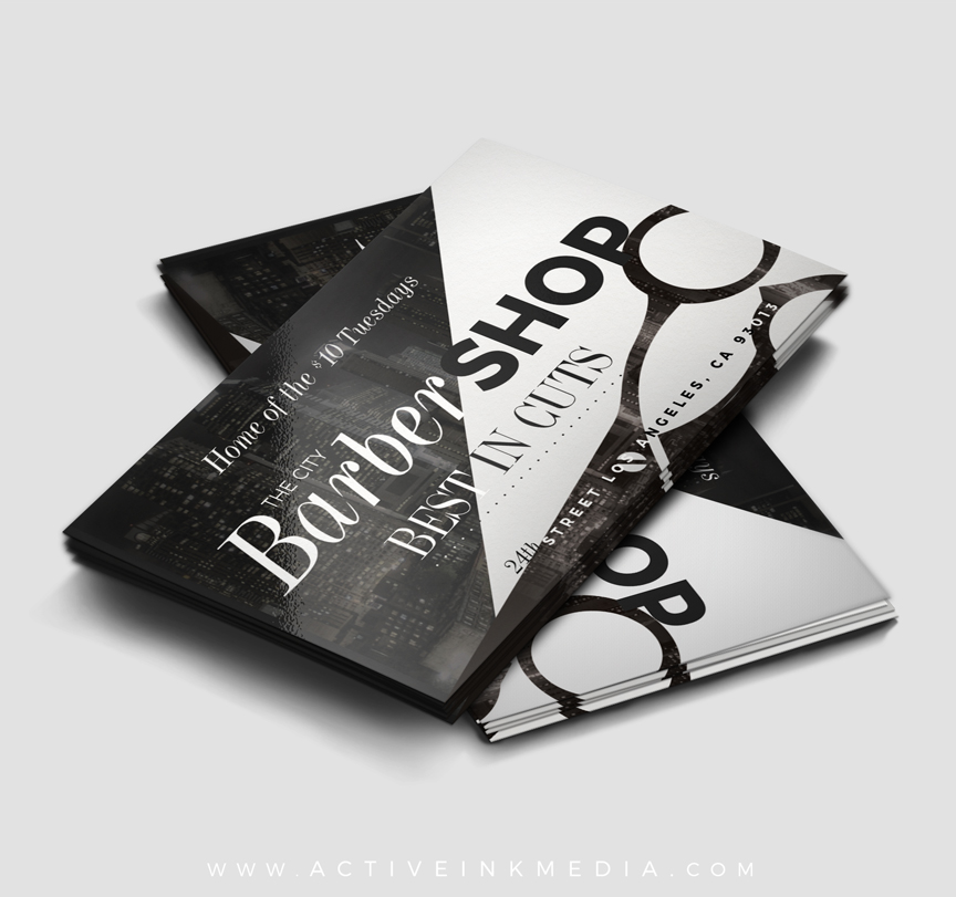 The city barber business card template active ink media city barber homefeatured designs the city barber business card template flashek