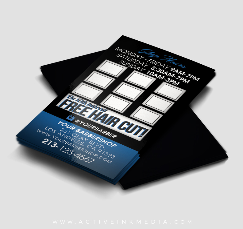 Barber loyalty business card template active ink media barber loyalty homefeatured designs barber loyalty business card template wajeb Images
